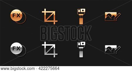 Set Photo Camera Fx, Picture Crop Photo, Action And Retouching Icon. Vector