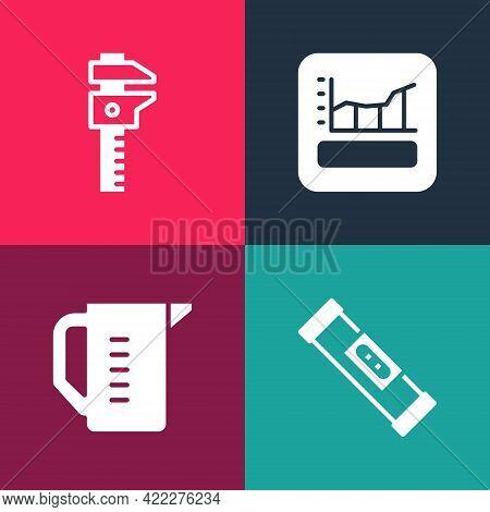 Set Pop Art Construction Bubble Level, Measuring Cup, Graph, Schedule, Chart, Diagram And Calliper O