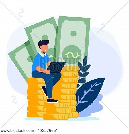Businessman Sitting On A Big Money And Coins Finance Success Money Wealth Vector Illustration Concep