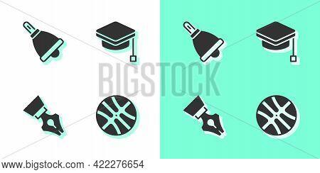 Set Basketball Ball, Ringing Bell, Fountain Pen Nib And Graduation Cap Icon. Vector