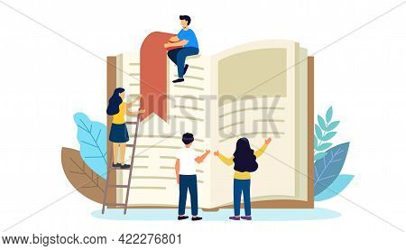 Reading Book Vector Illustration Flat Tiny Paper Book Text Study Persons Concept Of A Small People R