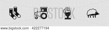 Set Socks, Tractor, Mulled Wine And Hedgehog Icon. Vector