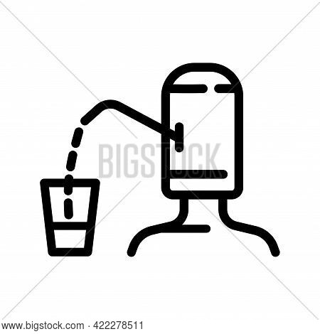 Plastic Bottle With Water Pump And Glass Outline Icon. Clean Spring Or Purified Water. Logo For Wate