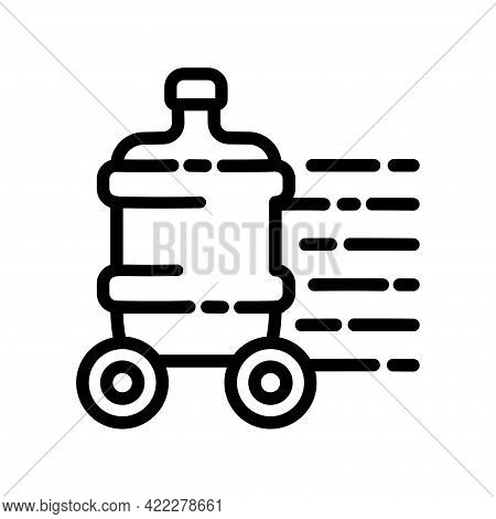 Plastic Water Bottle Outline Icon. Clean Spring Or Purified Water. Logo For Water Delivery Service.