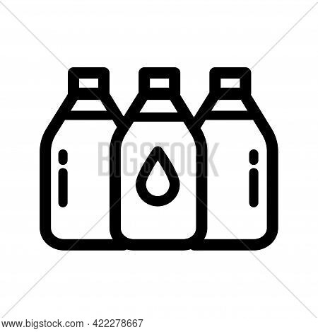 Plastic Water Bottle Set Outline Icon. Clean Spring Or Purified Water. Logo For Water Delivery Servi