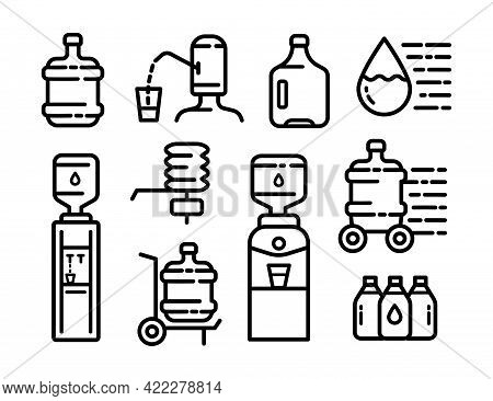 Water Cooler Icon Set, Outline Style Icon Dispenser. Clean Spring Or Purified Water. Logo Collection