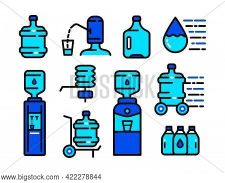 Water Cooler Icon Set, Simple Style Icon Dispenser. Clean Spring Or Purified Water. Color Logo Colle
