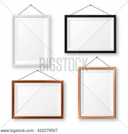 Realistic Isolated Black, White And Wooden Picture Frames With Shadow. Hanging On A Wall Blank Poste