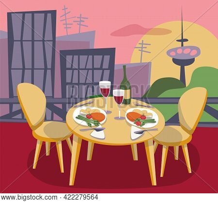 Restaurant Or Cafe On Rooftop With View To The City. Place For Romantic Dating. Table With Dishes An