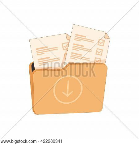 Open Folder And Close Folder. Folders With Documents. Four Folders Icons. Vector Illustration. Organ