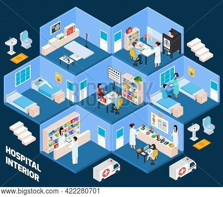 Hospital Isometric Interior With Medical Staff And Patients Vector Illustration