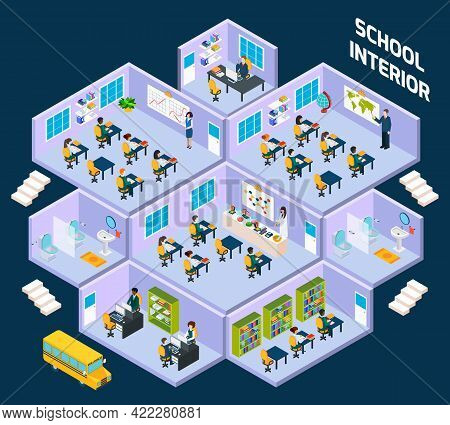 School Isometric Interior With Classroom Indoors Full Of Students And Teachers Vector Illustration