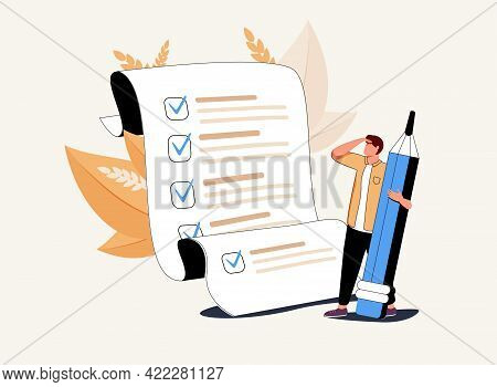 Man With Pencil Marking Completed Tasks On To-do List. Concept Of Time Management, Work Planning Met