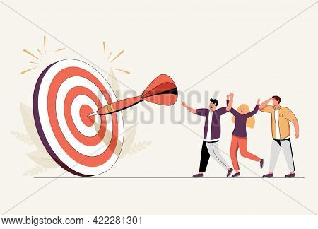 Team Business Goal, Teamwork Collaboration To Achieve Target, Coworkers Or Colleagues With Same Miss