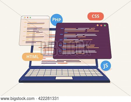 Website Programming And Coding. Web Development And Coding. 3d Vector Illustrations. Back End Develo