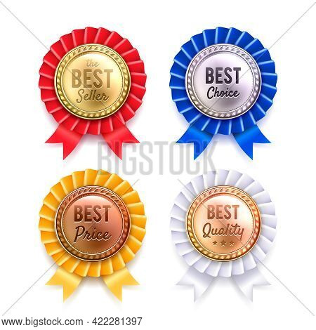 Four Round Best Quality Premium Badges Collection From Gold Silver Bronze And Copper Realistic Isola