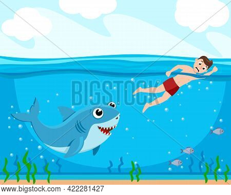 Shark Chasing A Man, Underwater World Nature. The Character
