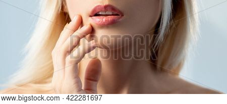 Aesthetic Cosmetology. Beauty Banner. Augmentation Rejuvenation. Blonde Woman With Sensual Shiny Lip