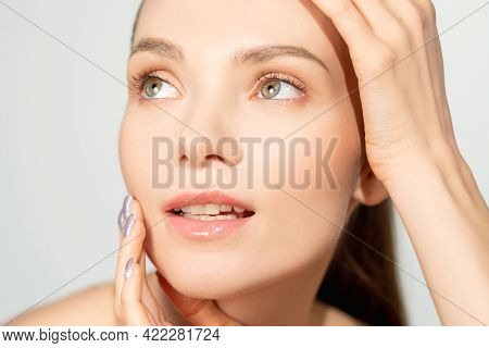Beauty Face. Skincare Cosmetology. Wellbeing Freshness. Relaxed Smiling Woman With Nude Makeup Flawl