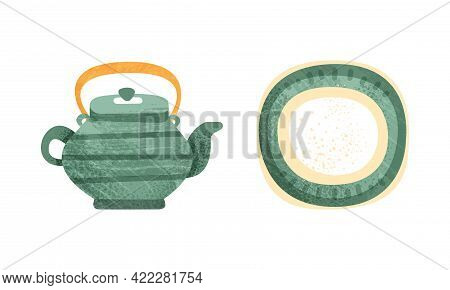 Clay Kitchenware Set, Ceramic Pottery With Decorative Ornament, Teapot And Plate Crockery Cartoon Ve
