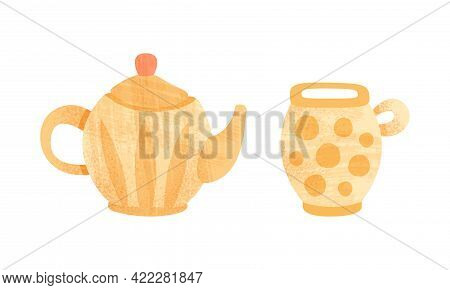 Clay Kitchenware Set, Ceramic Pottery With Decorative Ornament, Teapot And Mug Crockery Cartoon Vect