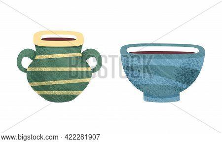 Clay Kitchenware Set, Ceramic Pottery With Decorative Ornament, Pot And Bowl Crockery Cartoon Vector