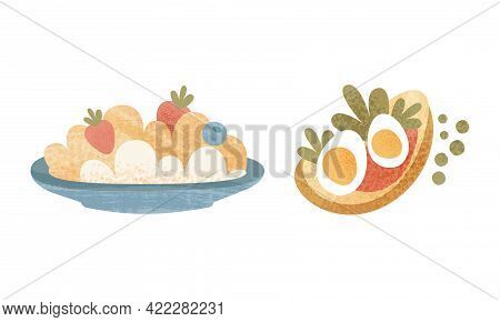 Healthy Breakfast Meal Set, Classical Menu With Oatmeal And Sandwich Cartoon Vector Illustration