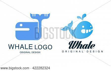 Whale Logo Design Set, Sealife, Summer Adventure, Company Identity Labels, Badges Flat Vector Illust