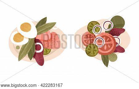 Healthy Food On Plates Set, Egg, Cucumber, Olives, Tomato, Onion Cartoon Vector Illustration