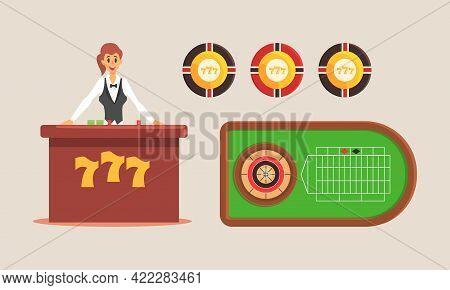 Casino And Gambling Concept, Cheerful Girl Croupier Character Vector Illustration
