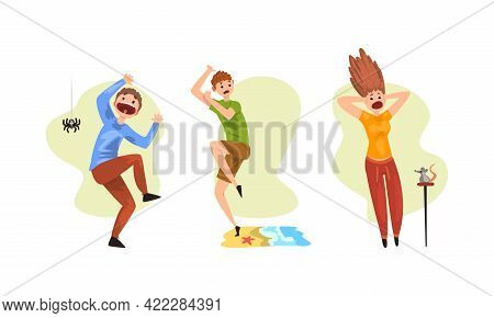 Set Of People Suffering From Mental Disorder, Arachnophobia, Hydrophobia, Zemmyphobia Cartoon Vector