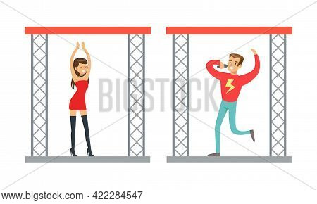 People Dancing And Singing On Stage At Nightclub Set Cartoon Vector Illustration
