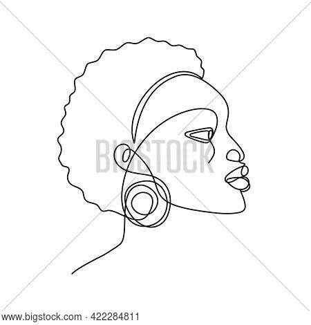 African Woman Continuous Line Portrait. Abstract One Line Drawing Of Handsome African American Face