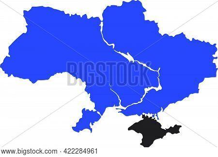 Blue Colored Ukraine Map. Political Ukraine Map. Crimean Peninsula. Crimean War And Russian Conflict