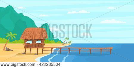 Cartoon Color Bungalow On Tropical Island Landscape Scene Concept. Vector
