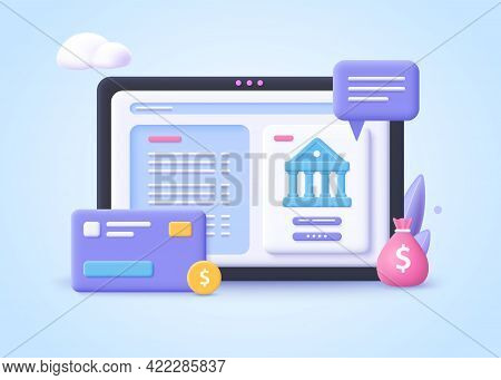 Concept Of Banking Operation.  Financial Transactions, Payments, Online Banking, Money Transfers And