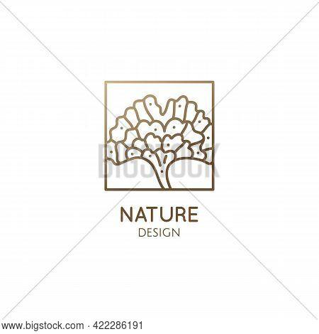 Gingo Biloba Leaf Logo. Square Ornamental Simple Icon Of Botanical Tree. Medical Ornamental Plant. V