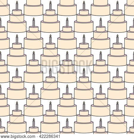 Sweet Cape Cakes Pattern On Yellow Background. Seamless.