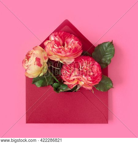 Greeting Card With Envelope And Pink Roses Flowers For Mother's Day Or Birthday. Creative Design Wit