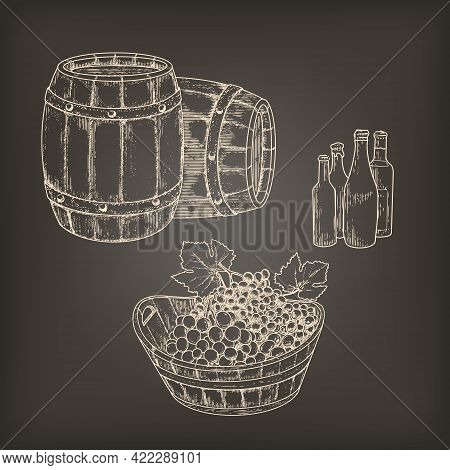 Bunches Of White And Black Grapes In A Tub, Old Barrels, Wine From The Cellar. Vintage Set Of Elemen