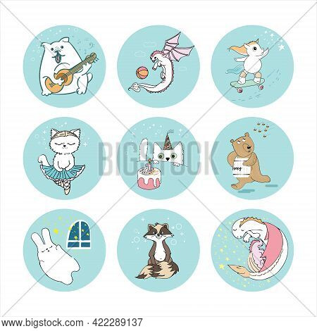 The Character Of A Dog With A Guitar, A Playful Unicorn Dragon On A Skateboard, A Ballerina Cat, A B