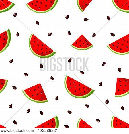 Vector Seamless Pattern With Watermelon Wedges And Seeds On White Background.