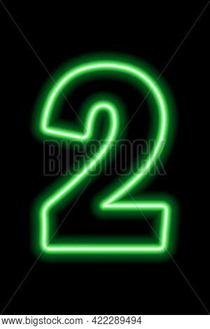 Neon Green Number 2 On Black Background. Learning Numbers, Serial Number, Price, Place.