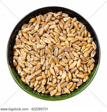 Top View Of Whole Common Wheat Grains In Round Bowl Isolated On White Background