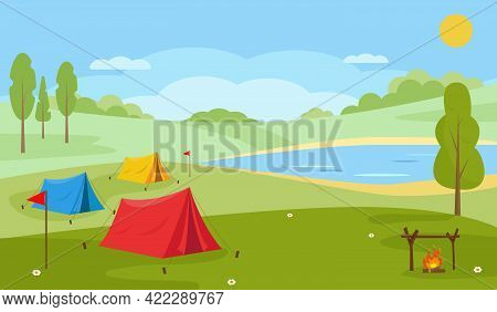 Summer Camping Landscape. Countryside Nature. Lake Or River, Trees, Camping Tents And Bonfire. Trave