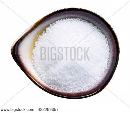 Top View Of Fructose Sugar Sweetener In Ceramic Bowl Isolated On White Background