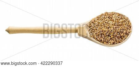 Wooden Spoon With Uncooked Crushed Emmer Farro Hulled Wheat Groats Isolated On White Background