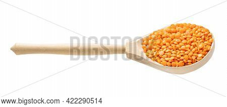 Wooden Spoon With Raw Whole Red Lentils Isolated On White Background