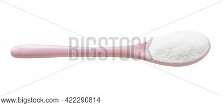 Ceramic Spoon With Glutamate Flavoring Isolated On White Background