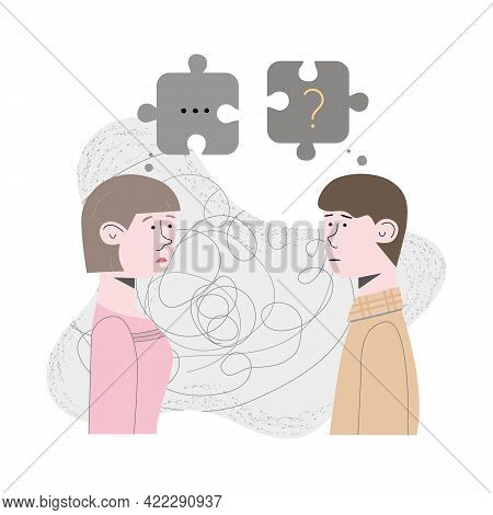 Couple Quarreled And Did Not Want To Talk About It. Psychological Concept Of Family Quarrel And Home